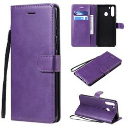Retro Greek Classic Smooth PU Leather Wallet Phone Case for Samsung Galaxy A21 - Purple