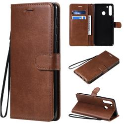 Retro Greek Classic Smooth PU Leather Wallet Phone Case for Samsung Galaxy A21 - Brown