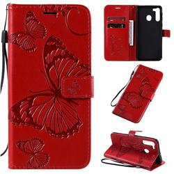 Embossing 3D Butterfly Leather Wallet Case for Samsung Galaxy A21 - Red