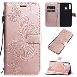 Embossing 3D Butterfly Leather Wallet Case for Samsung Galaxy A21 - Rose Gold