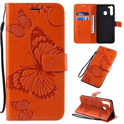 Embossing 3D Butterfly Leather Wallet Case for Samsung Galaxy A21 - Orange