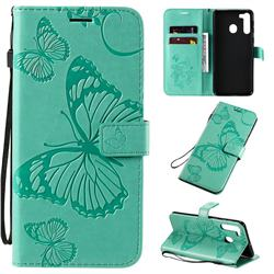 Embossing 3D Butterfly Leather Wallet Case for Samsung Galaxy A21 - Green