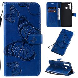 Embossing 3D Butterfly Leather Wallet Case for Samsung Galaxy A21 - Blue