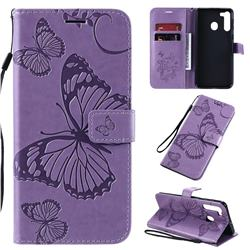 Embossing 3D Butterfly Leather Wallet Case for Samsung Galaxy A21 - Purple