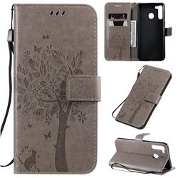 Embossing Butterfly Tree Leather Wallet Case for Samsung Galaxy A21 - Grey