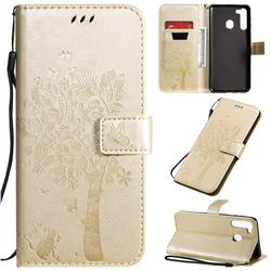 Embossing Butterfly Tree Leather Wallet Case for Samsung Galaxy A21 - Champagne