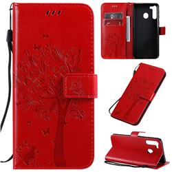 Embossing Butterfly Tree Leather Wallet Case for Samsung Galaxy A21 - Red