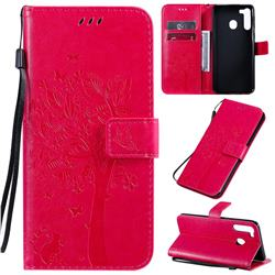 Embossing Butterfly Tree Leather Wallet Case for Samsung Galaxy A21 - Rose