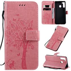 Embossing Butterfly Tree Leather Wallet Case for Samsung Galaxy A21 - Pink
