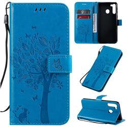 Embossing Butterfly Tree Leather Wallet Case for Samsung Galaxy A21 - Blue