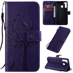 Embossing Butterfly Tree Leather Wallet Case for Samsung Galaxy A21 - Purple