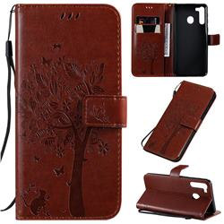 Embossing Butterfly Tree Leather Wallet Case for Samsung Galaxy A21 - Coffee