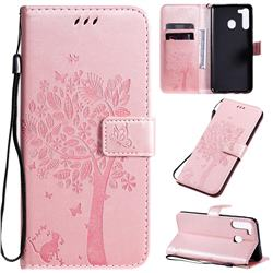 Embossing Butterfly Tree Leather Wallet Case for Samsung Galaxy A21 - Rose Pink