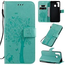 Embossing Butterfly Tree Leather Wallet Case for Samsung Galaxy A21 - Cyan