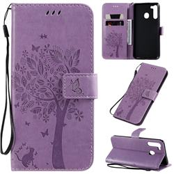 Embossing Butterfly Tree Leather Wallet Case for Samsung Galaxy A21 - Violet
