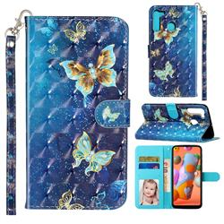 Rankine Butterfly 3D Leather Phone Holster Wallet Case for Samsung Galaxy A21