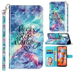 Blue Starry Sky 3D Leather Phone Holster Wallet Case for Samsung Galaxy A21