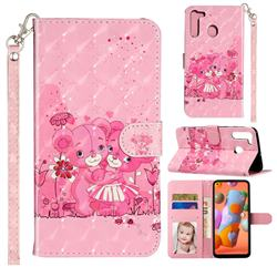 Pink Bear 3D Leather Phone Holster Wallet Case for Samsung Galaxy A21