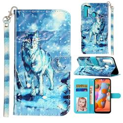 Snow Wolf 3D Leather Phone Holster Wallet Case for Samsung Galaxy A21