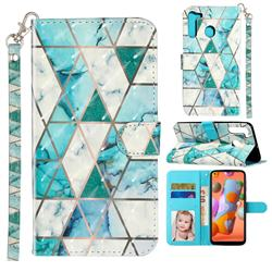 Stitching Marble 3D Leather Phone Holster Wallet Case for Samsung Galaxy A21