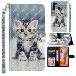 Kitten Cat 3D Leather Phone Holster Wallet Case for Samsung Galaxy A21