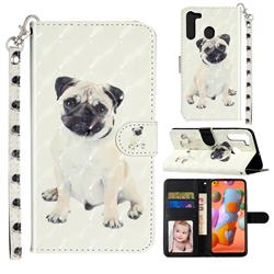 Pug Dog 3D Leather Phone Holster Wallet Case for Samsung Galaxy A21