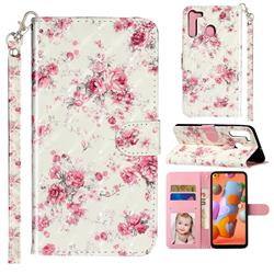 Rambler Rose Flower 3D Leather Phone Holster Wallet Case for Samsung Galaxy A21