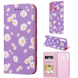 Ultra Slim Daisy Sparkle Glitter Powder Magnetic Leather Wallet Case for Samsung Galaxy A21 - Purple
