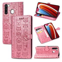 Embossing Dog Paw Kitten and Puppy Leather Wallet Case for Samsung Galaxy A21 - Pink
