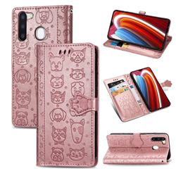 Embossing Dog Paw Kitten and Puppy Leather Wallet Case for Samsung Galaxy A21 - Rose Gold