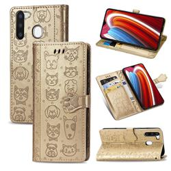 Embossing Dog Paw Kitten and Puppy Leather Wallet Case for Samsung Galaxy A21 - Champagne Gold