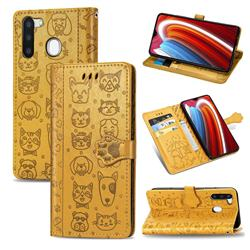 Embossing Dog Paw Kitten and Puppy Leather Wallet Case for Samsung Galaxy A21 - Yellow
