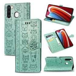 Embossing Dog Paw Kitten and Puppy Leather Wallet Case for Samsung Galaxy A21 - Green