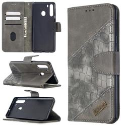 BinfenColor BF04 Color Block Stitching Crocodile Leather Case Cover for Samsung Galaxy A21 - Gray