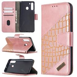 BinfenColor BF04 Color Block Stitching Crocodile Leather Case Cover for Samsung Galaxy A21 - Rose Gold