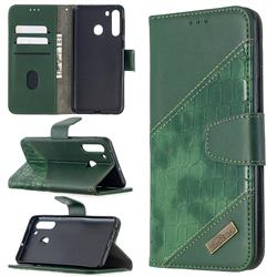 BinfenColor BF04 Color Block Stitching Crocodile Leather Case Cover for Samsung Galaxy A21 - Green
