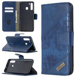 BinfenColor BF04 Color Block Stitching Crocodile Leather Case Cover for Samsung Galaxy A21 - Blue