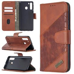 BinfenColor BF04 Color Block Stitching Crocodile Leather Case Cover for Samsung Galaxy A21 - Brown