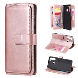 Multi-function Ten Card Slots and Photo Frame PU Leather Wallet Phone Case Cover for Samsung Galaxy A21 - Rose Gold