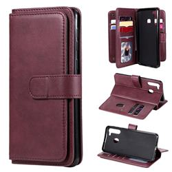 Multi-function Ten Card Slots and Photo Frame PU Leather Wallet Phone Case Cover for Samsung Galaxy A21 - Claret
