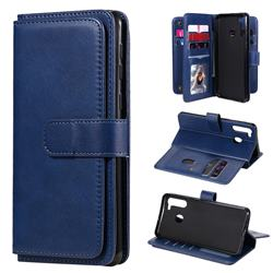Multi-function Ten Card Slots and Photo Frame PU Leather Wallet Phone Case Cover for Samsung Galaxy A21 - Dark Blue