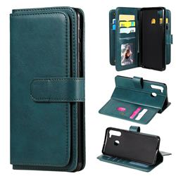Multi-function Ten Card Slots and Photo Frame PU Leather Wallet Phone Case Cover for Samsung Galaxy A21 - Dark Green