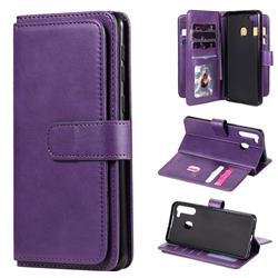 Multi-function Ten Card Slots and Photo Frame PU Leather Wallet Phone Case Cover for Samsung Galaxy A21 - Violet