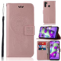Intricate Embossing Owl Campanula Leather Wallet Case for Samsung Galaxy A21 - Rose Gold