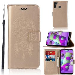 Intricate Embossing Owl Campanula Leather Wallet Case for Samsung Galaxy A21 - Champagne
