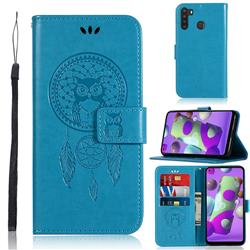 Intricate Embossing Owl Campanula Leather Wallet Case for Samsung Galaxy A21 - Blue