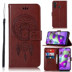 Intricate Embossing Owl Campanula Leather Wallet Case for Samsung Galaxy A21 - Brown