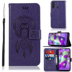 Intricate Embossing Owl Campanula Leather Wallet Case for Samsung Galaxy A21 - Purple