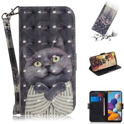 Cat Embrace 3D Painted Leather Wallet Phone Case for Samsung Galaxy A21