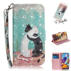 Black and White Cat 3D Painted Leather Wallet Phone Case for Samsung Galaxy A21